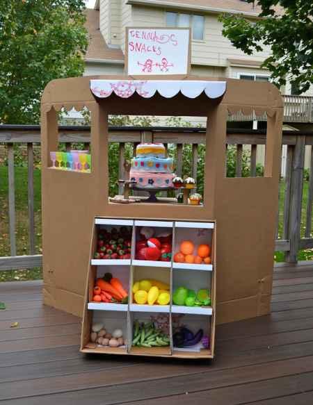 30+ Fun Ways To Repurpose Cardboard For Kids----Fruit Stand Storefront