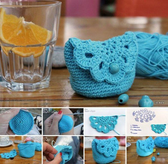 Free Crochet Patterns With Tutorials : Cute Crochet Purse with Free Patterns and Tutorials