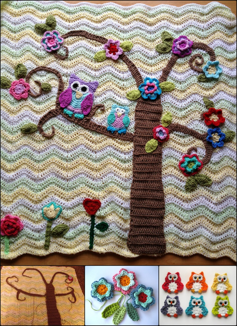 Crochet Nursery Owls Ripple Blanket Pattern