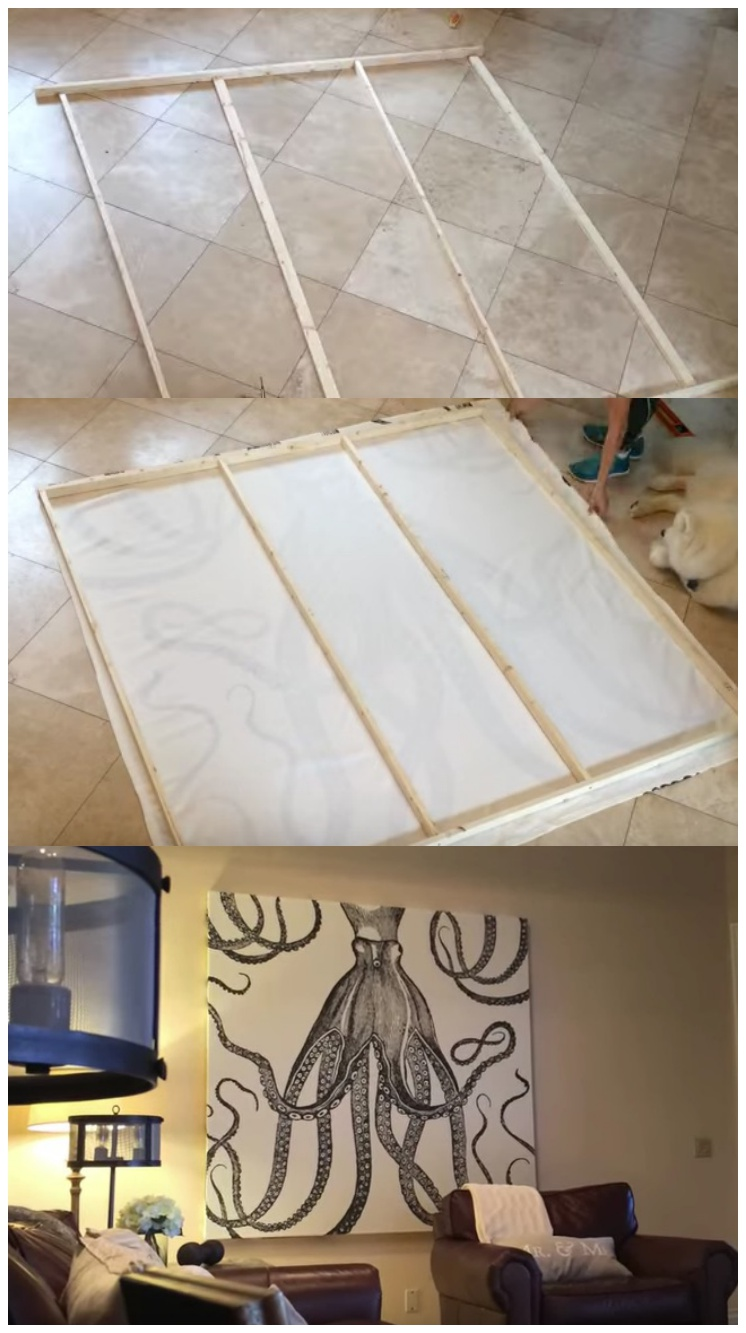 DIY a Shower Curtain Into Awesome Wall Art On A Budget