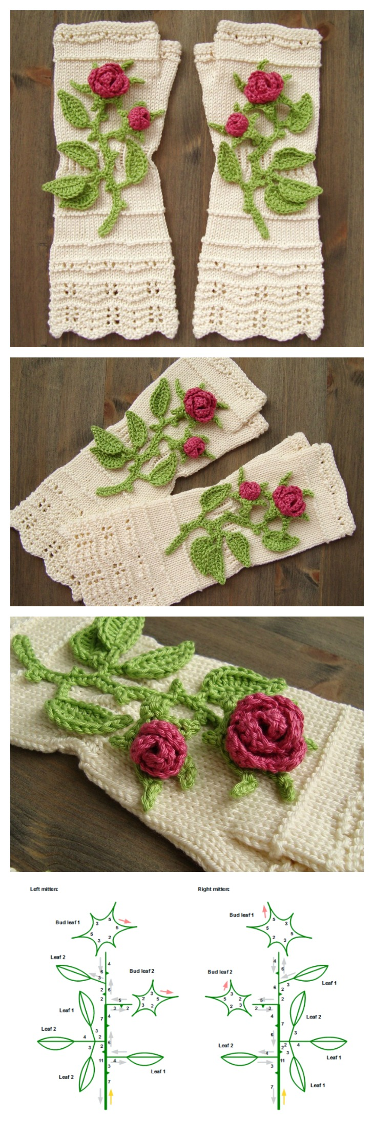 Knitted Fingerless Mittens With Crochet 3D-Roses