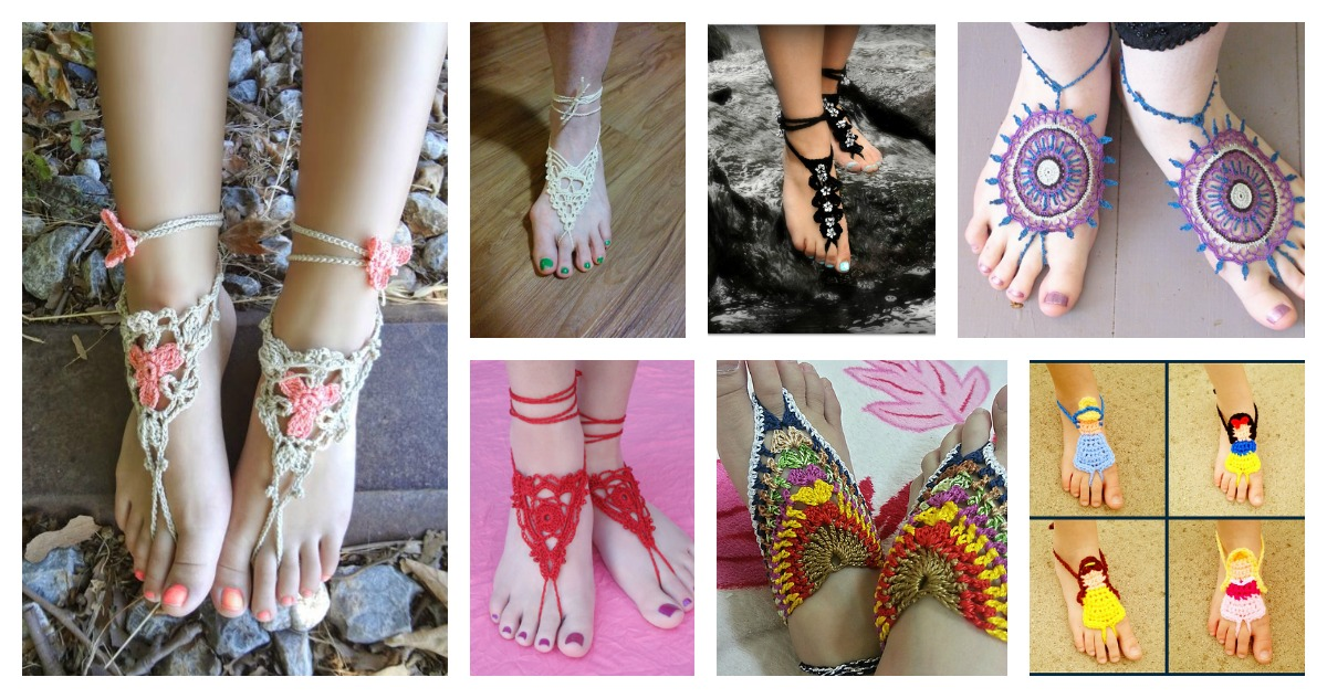 30 Awesome Crochet Barefoot Sandals Patterns