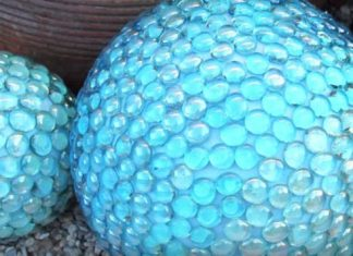 DIY Faux Gazing Ball Garden Decor