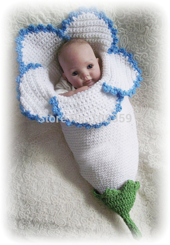 Free Crochet Pattern Baby Sleeping Bag : Crocheted Flower Baby Cocoons Are Adorable