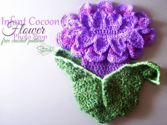 Baby Flower Photo Prop Cocoon Crochet Free Pattern