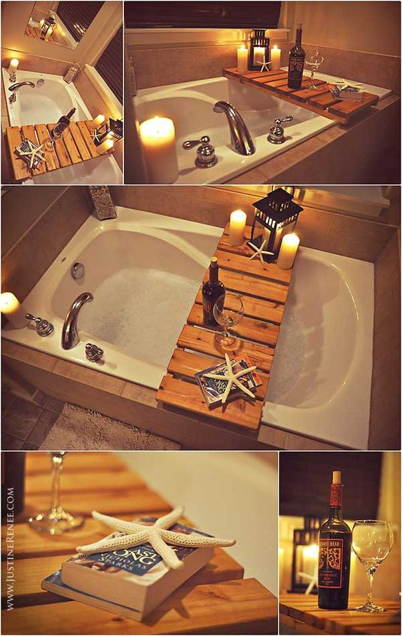 Bathtub pallet shelf