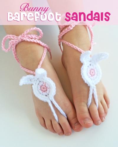 Bunny barefoot sandals Free Crochet Pattern