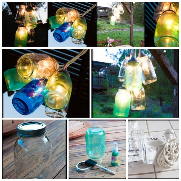 Colorful Canning Jar Lights outdoor DIY Craft