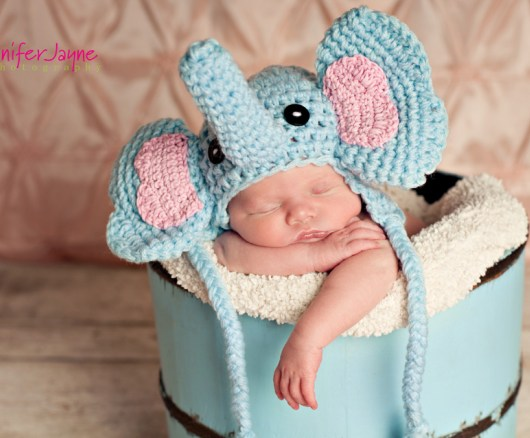 Crochet Pattern For Baby Elephant Hat : Baby Elephant Crochet Hat with Free Pattern
