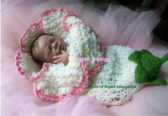 Crochet Baby Lily Flower Cocoon