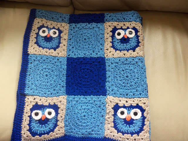 Free Crochet Pattern For Owl Afghan : Crochet Nursery Owls Ripple Blanket with Free Pattern ...