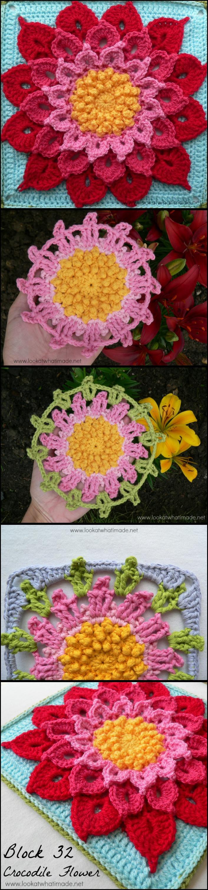 Free Crochet Pattern Crocodile Flower : Crocodile Stitch Afghan Block Crochet Pattern