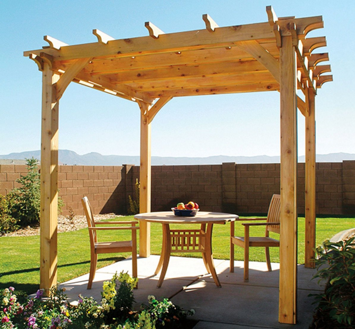 diy backyard pergola with free plan. Black Bedroom Furniture Sets. Home Design Ideas