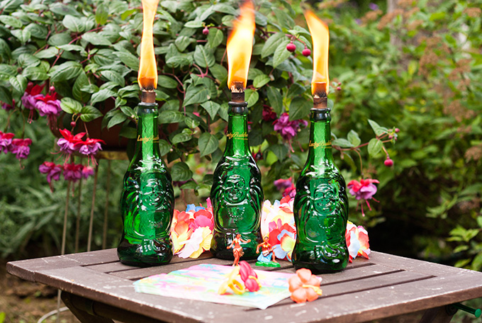 DIY Lucky Buddha Tiki Torches