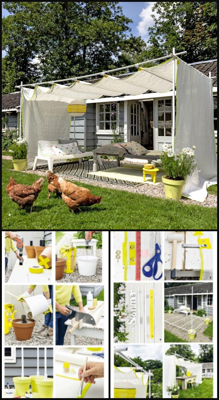 10 Creative DIY Outdoor Shady Space Ideas----DIY fabric pergola