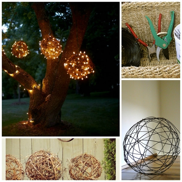 Make balls from grapevines or wires and wrap icicle lights around them to create glimmering orbs.