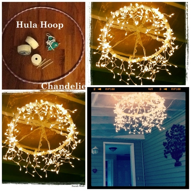 Wrap lace or another decorative ribbon around a hula hoop, then wrap in icicle lights and you have a truly unique set of hanging lights. Cool creativity