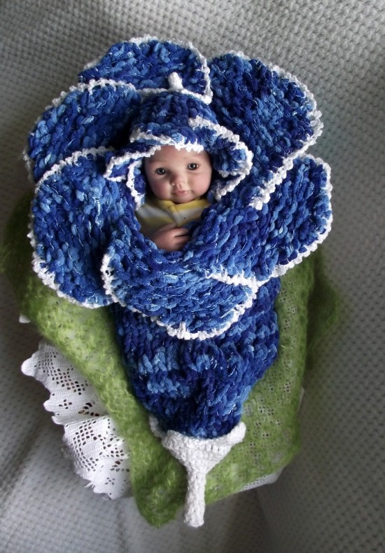 Knitted Baby Bluebell Flower Cocoon