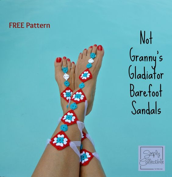 Not Granny's Gladiator Barefoot Sandals Free Crochet Pattern