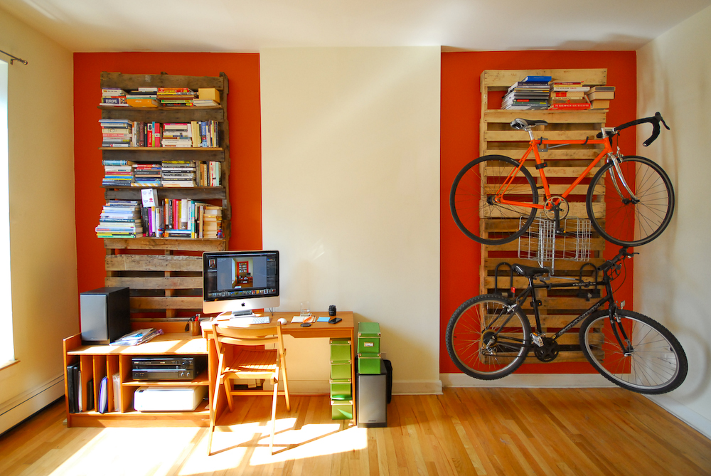 Pallet Bookshelf and Bike Rack