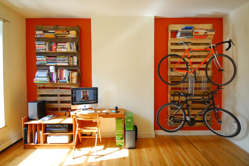 Pallet Bookshelf and Bike Rack