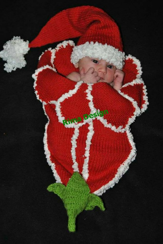 Santa Knitted Bluebell Flower Cocoon