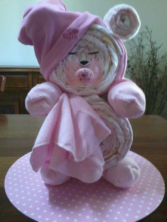 Sleepy Bear Diaper Cake