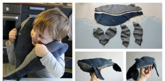 Stuffed Baby Whale Made of Old Denim Jeans