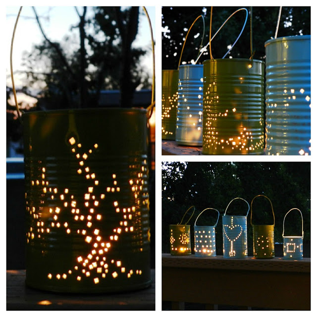 DIY Tin Can Lanterns cool creativity