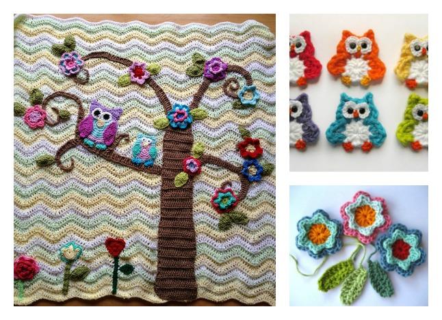 Free Crochet Pattern Owl Afghan : Crochet Nursery Owls Ripple Blanket with Free Pattern ...