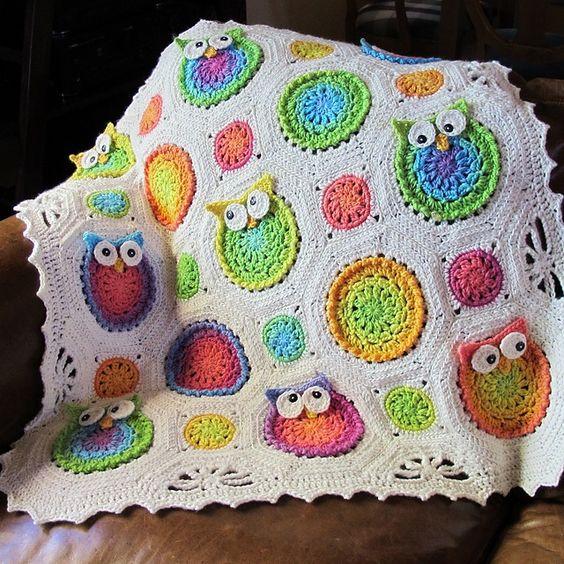 Crochet Nursery Owls Ripple Blanket with Free Pattern ...
