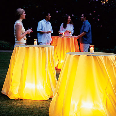 glowing tablecloth lights party outdoor