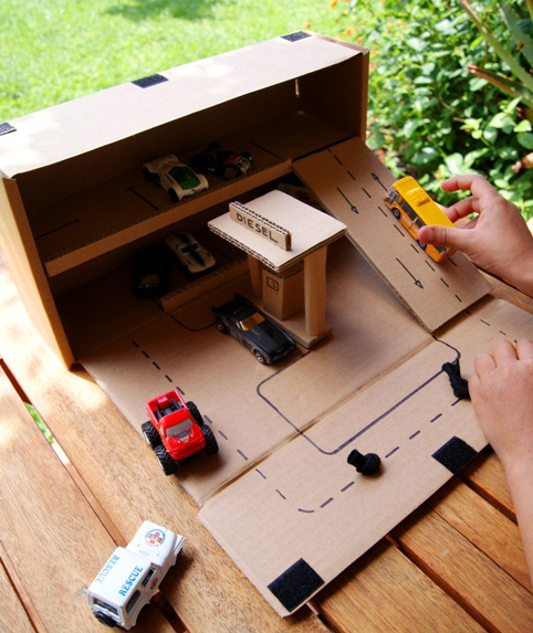 30+ Fun Ways To Repurpose Cardboard For Kids---Parking garage