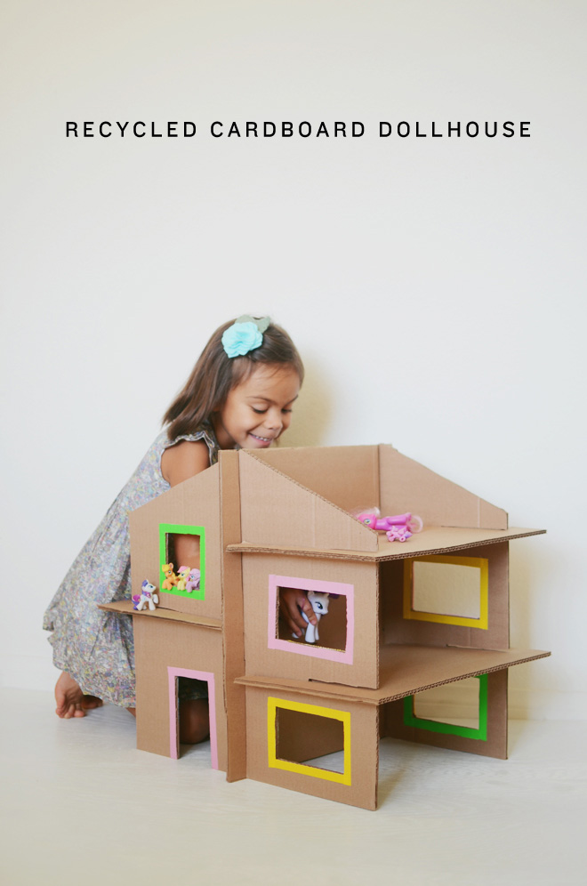 30+ Fun Ways To Repurpose Cardboard For Kids----Recycled Dollhouse