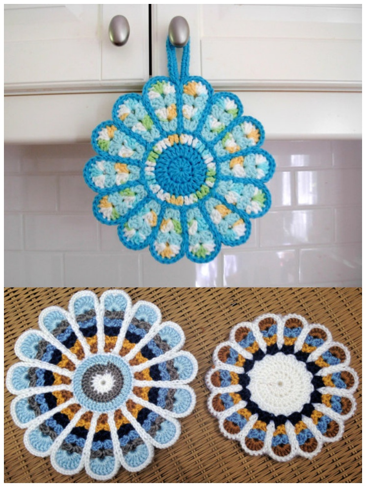 Crochet Potholder Hot Pad, flower pot holder