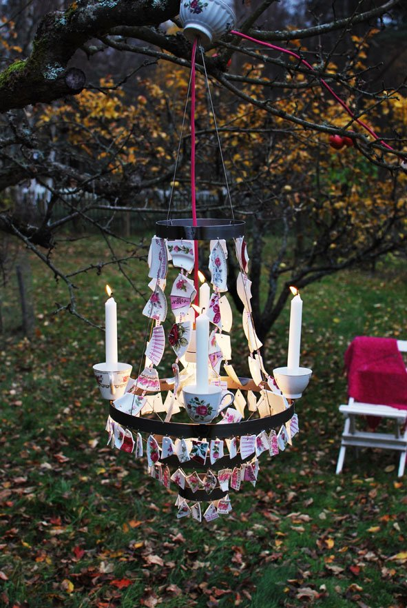 Broken China Backyard Chandelier