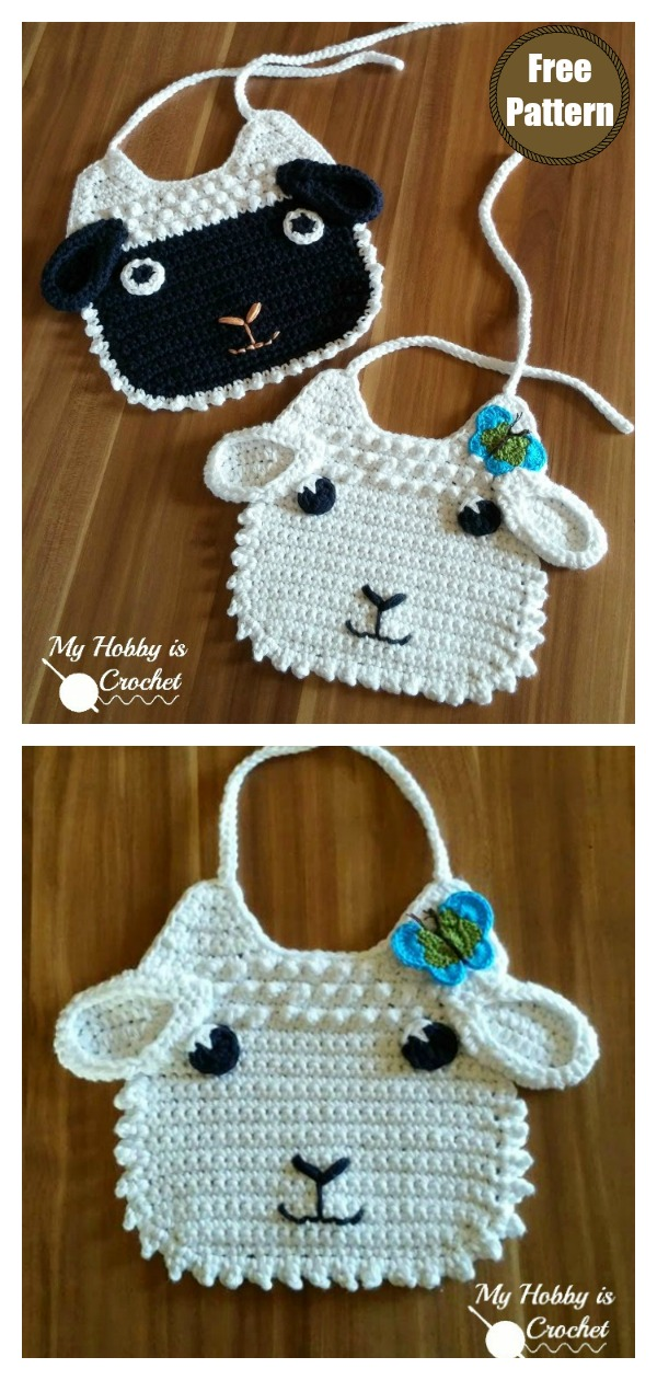 Crochet Little Lamb Baby Bib with Free Pattern and Tutorial