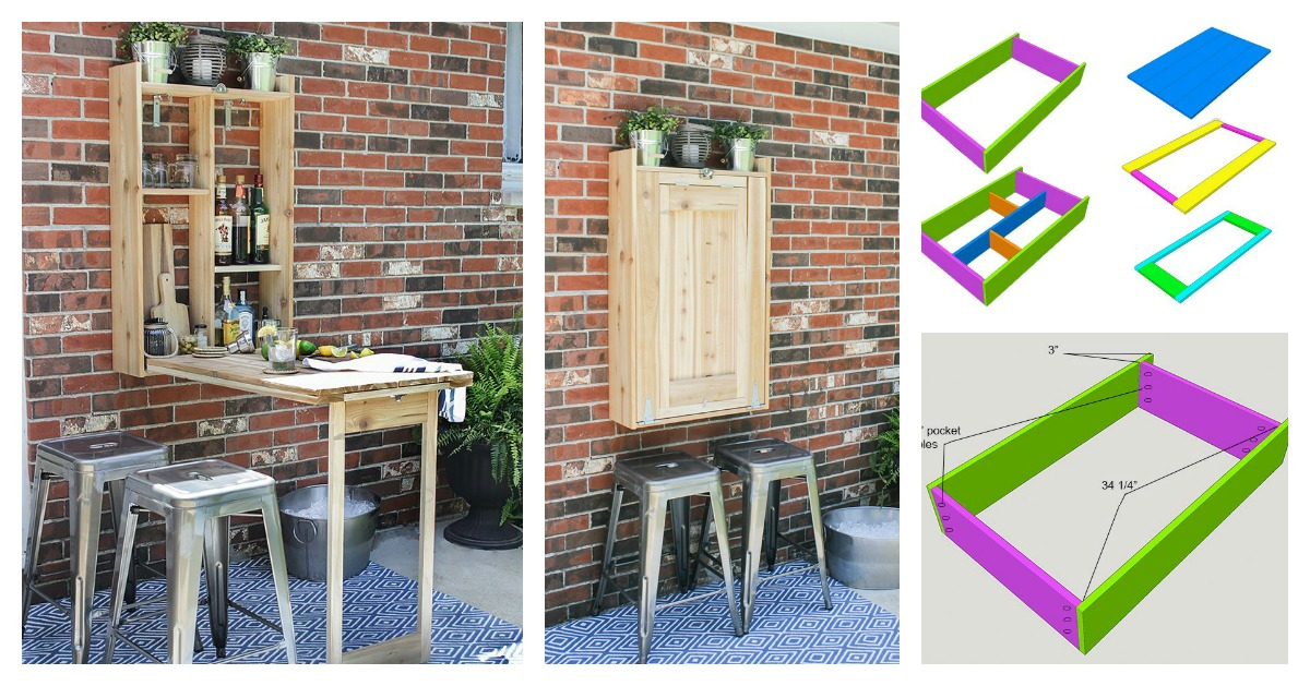 Diy Cool Fold Down Outdoor Murphy Bar Very Creative Idea