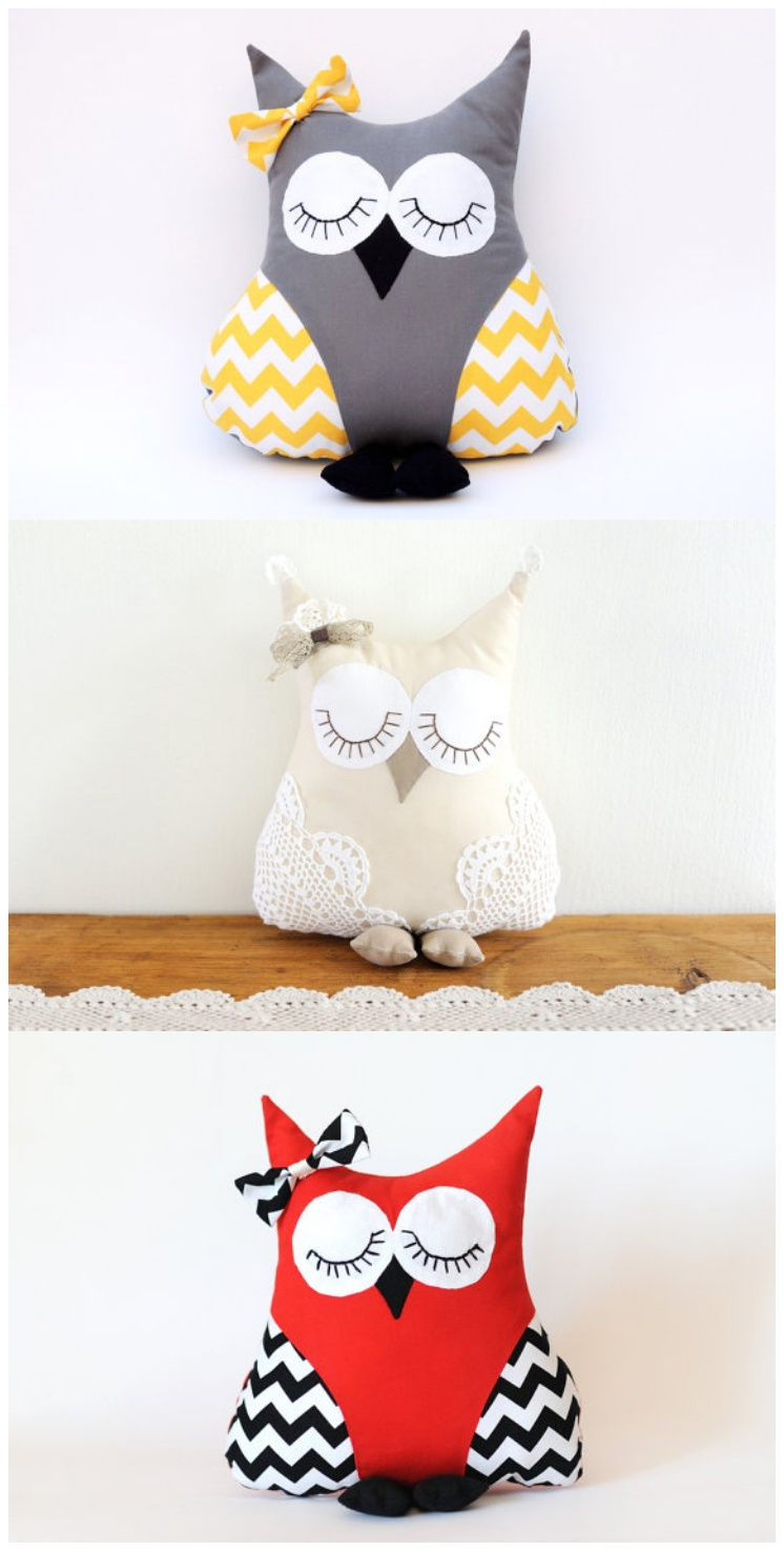 DIY Cozy and cute modern owl pillows