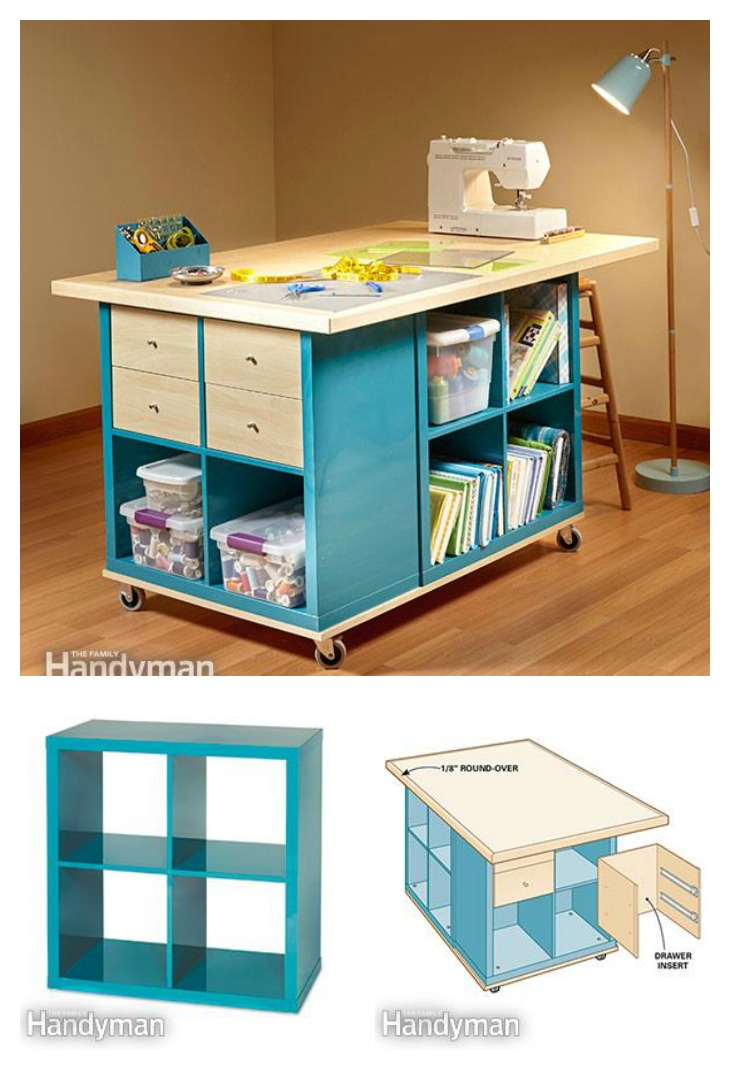 Diy craft room table with ikea furniture under budget Small room storage ideas ikea