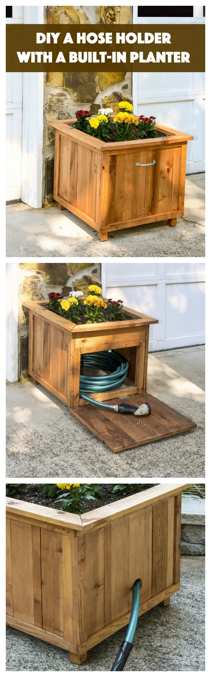 Diy hose hiding outdoor planter an easy project for for Outdoor wood projects ideas