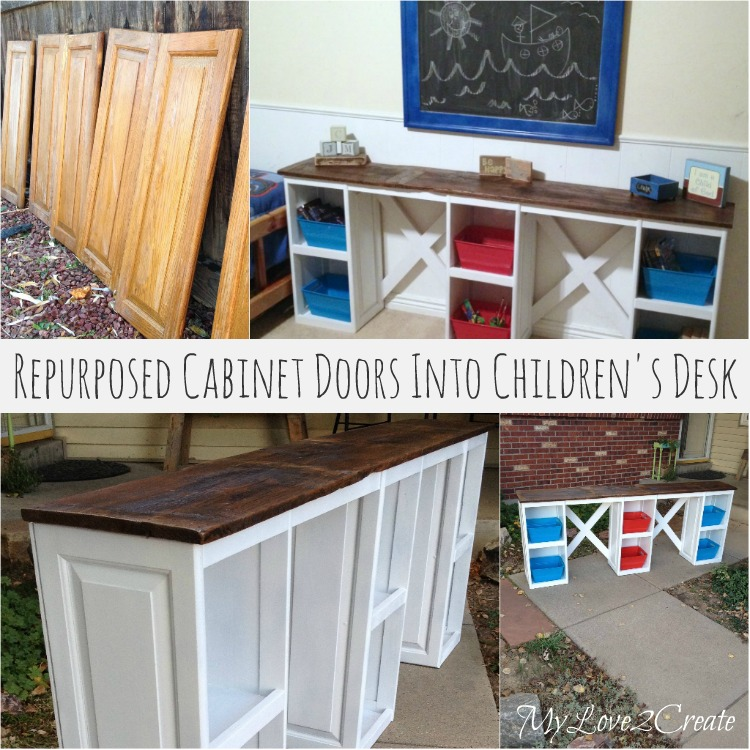 DIY Repurposed Cabinet Doors Into Childrenu0027s Desk