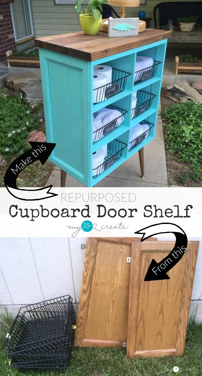 DIY Repurposed Cupboard Door Shelf