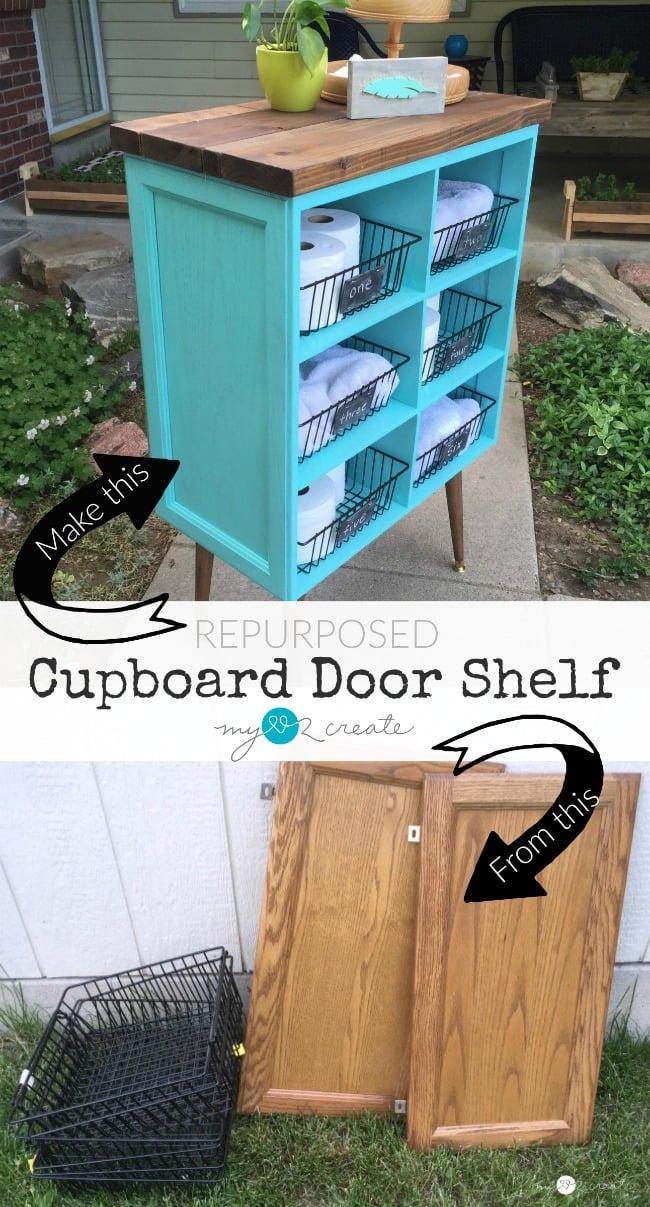 DIY Repurposed Cupboard Door Shelf