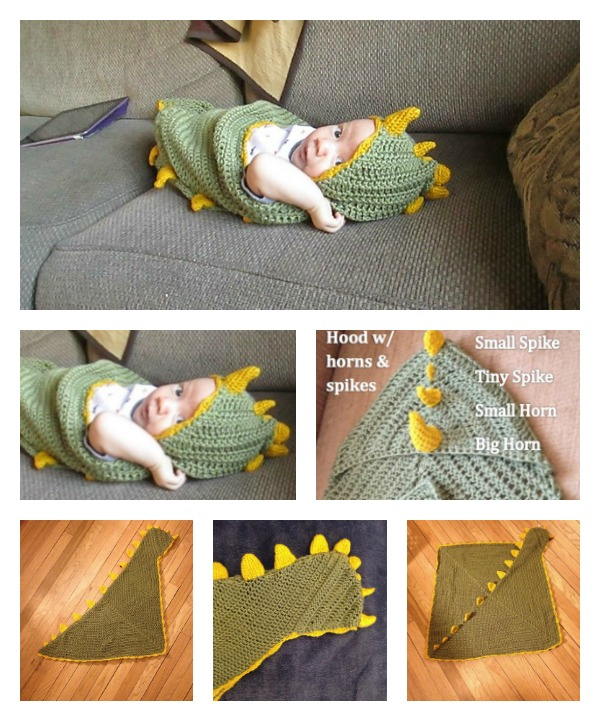 Absolutely Adorable Hooded Dragon Blanket Crochet Pattern