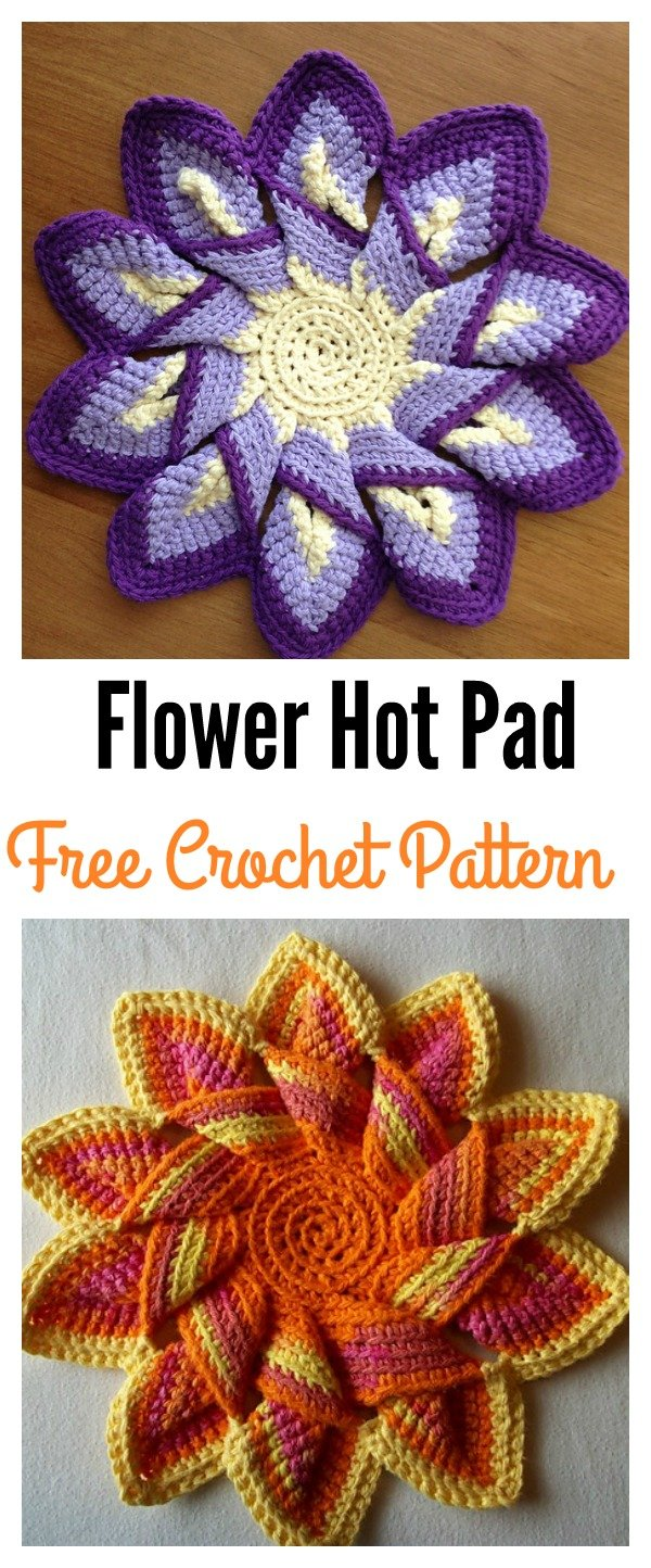 Free Printable Crochet Hot Pad Patterns : Colorful Crochet Flower Pot Holder with FREE Pattern