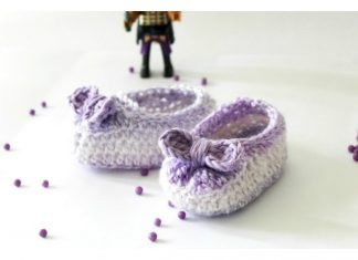 Crochet Baby Girl Bow Booties Free Pattern