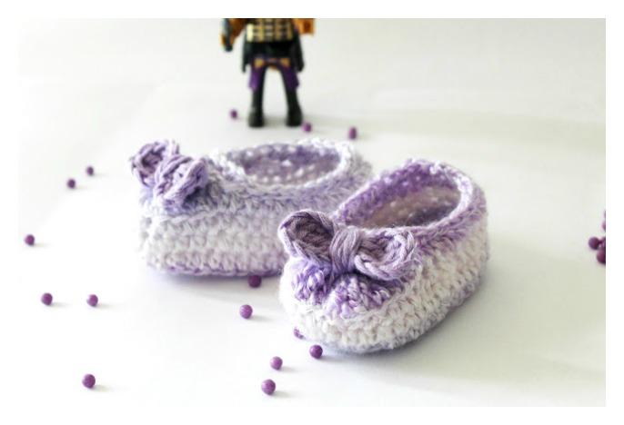 Crochet Baby Girl Bow Booties Free Pattern - Cool Creativities