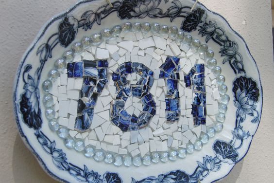 House numbers using blue and white china platter and broken china pieces