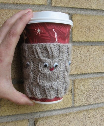 Owl Coffee Cozy Free Knitting Pattern Great Gift For Coffeee Or